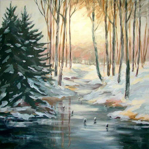 2000 Winter am Bach 100x100